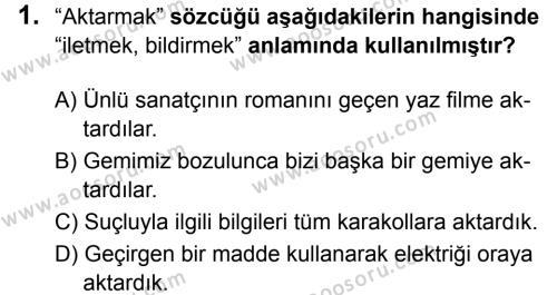 Türkçe 6 Dersi 2019 - 2020 Yılı 2. Dönem Sınavı 1. Soru