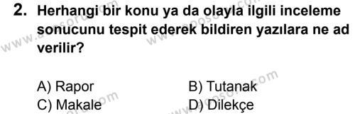 Türkçe 7 Dersi 2011 - 2012 Yılı 2. Dönem Sınavı 2. Soru