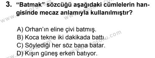 Türkçe 7 Dersi 2011 - 2012 Yılı 2. Dönem Sınavı 3. Soru