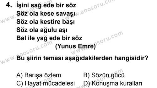 Türkçe 7 Dersi 2011 - 2012 Yılı 2. Dönem Sınavı 4. Soru