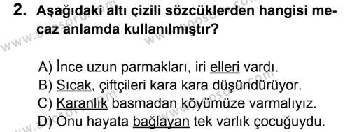 Türkçe 7 Dersi 2011 - 2012 Yılı 3. Dönem Sınavı 2. Soru