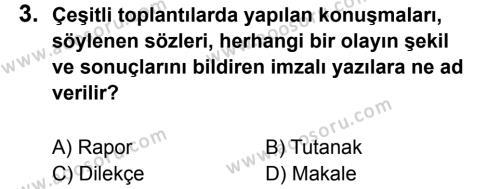Türkçe 7 Dersi 2011 - 2012 Yılı 3. Dönem Sınavı 3. Soru