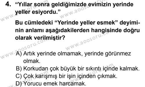 Türkçe 7 Dersi 2011 - 2012 Yılı 3. Dönem Sınavı 4. Soru