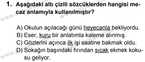 Türkçe 7 Dersi 2012 - 2013 Yılı 1. Dönem Sınavı 1. Soru