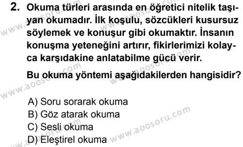 Türkçe 7 Dersi 2012 - 2013 Yılı 1. Dönem Sınavı 2. Soru