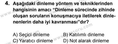 Türkçe 7 Dersi 2012 - 2013 Yılı 1. Dönem Sınavı 4. Soru