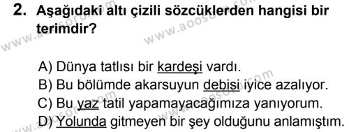 Türkçe 7 Dersi 2012 - 2013 Yılı 2. Dönem Sınavı 2. Soru
