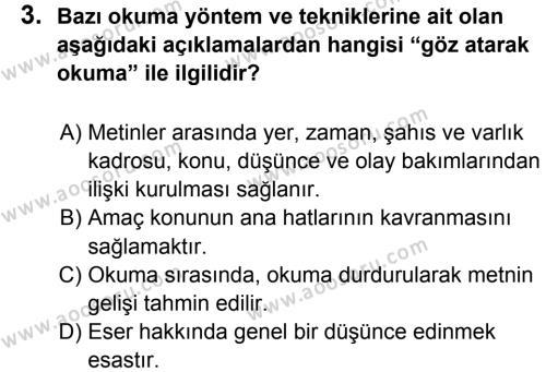Türkçe 7 Dersi 2012 - 2013 Yılı 2. Dönem Sınavı 3. Soru