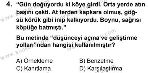 Türkçe 7 Dersi 2012 - 2013 Yılı 2. Dönem Sınavı 4. Soru
