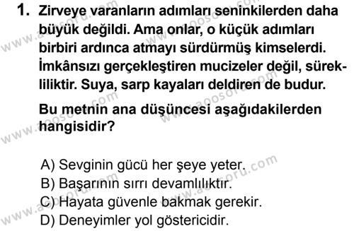 Türkçe 7 Dersi 2012 - 2013 Yılı 3. Dönem Sınavı 1. Soru