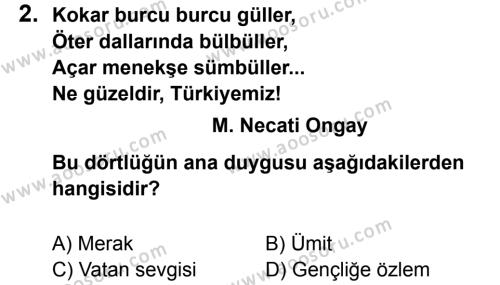 Türkçe 7 Dersi 2012 - 2013 Yılı 3. Dönem Sınavı 2. Soru