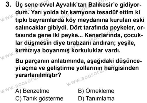Türkçe 7 Dersi 2012 - 2013 Yılı 3. Dönem Sınavı 3. Soru