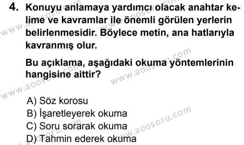 Türkçe 7 Dersi 2012 - 2013 Yılı 3. Dönem Sınavı 4. Soru