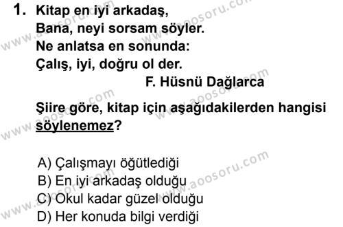 Türkçe 7 Dersi 2013 - 2014 Yılı 1. Dönem Sınavı 1. Soru