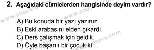 Türkçe 7 Dersi 2013 - 2014 Yılı 1. Dönem Sınavı 2. Soru