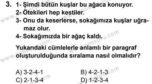 Türkçe 7 Dersi 2013 - 2014 Yılı 1. Dönem Sınavı 3. Soru