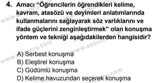 Türkçe 7 Dersi 2013 - 2014 Yılı 1. Dönem Sınavı 4. Soru