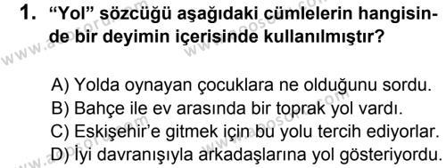 Türkçe 7 Dersi 2013 - 2014 Yılı 2. Dönem Sınavı 1. Soru