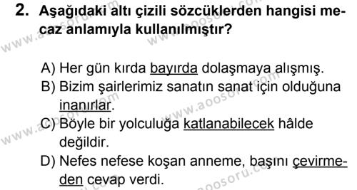 Türkçe 7 Dersi 2013 - 2014 Yılı 2. Dönem Sınavı 2. Soru