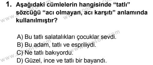 Türkçe 7 Dersi 2013 - 2014 Yılı 3. Dönem Sınavı 1. Soru