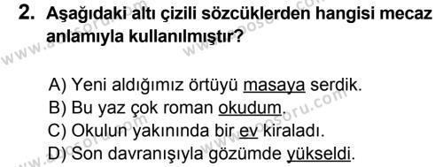 Türkçe 7 Dersi 2013 - 2014 Yılı 3. Dönem Sınavı 2. Soru