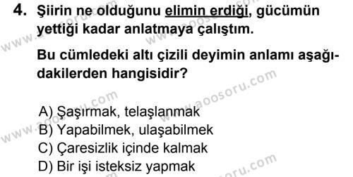 Türkçe 7 Dersi 2013 - 2014 Yılı 3. Dönem Sınavı 4. Soru