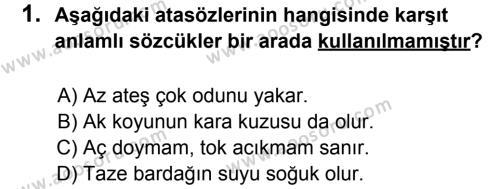 Türkçe 7 Dersi 2014 - 2015 Yılı 1. Dönem Sınavı 1. Soru