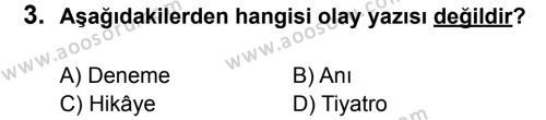 Türkçe 7 Dersi 2014 - 2015 Yılı 1. Dönem Sınavı 3. Soru