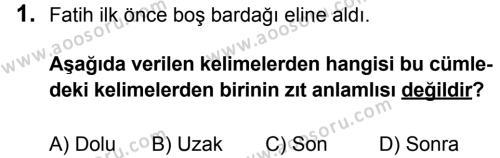 Türkçe 7 Dersi 2014 - 2015 Yılı 3. Dönem Sınavı 1. Soru