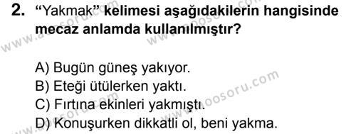 Türkçe 7 Dersi 2014 - 2015 Yılı 3. Dönem Sınavı 2. Soru