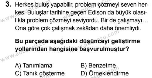 Türkçe 7 Dersi 2014 - 2015 Yılı 3. Dönem Sınavı 3. Soru