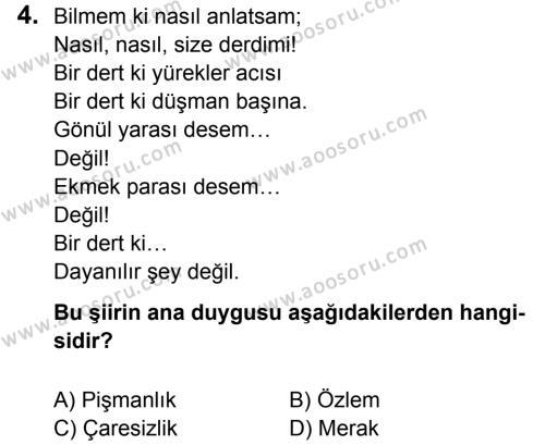 Türkçe 7 Dersi 2014 - 2015 Yılı 3. Dönem Sınavı 4. Soru