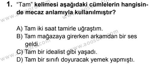 Türkçe 7 Dersi 2015 - 2016 Yılı 2. Dönem Sınavı 1. Soru