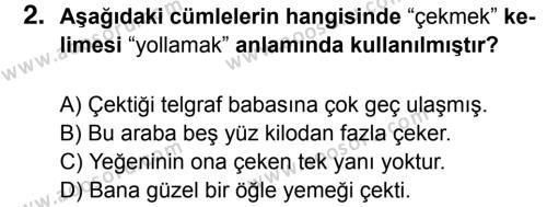 Türkçe 7 Dersi 2015 - 2016 Yılı 2. Dönem Sınavı 2. Soru