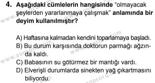 Türkçe 7 Dersi 2015 - 2016 Yılı 2. Dönem Sınavı 4. Soru