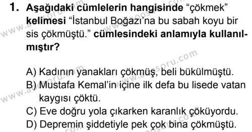 Türkçe 7 Dersi 2015 - 2016 Yılı 3. Dönem Sınavı 1. Soru