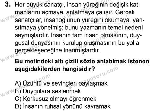 Türkçe 7 Dersi 2015 - 2016 Yılı 3. Dönem Sınavı 3. Soru