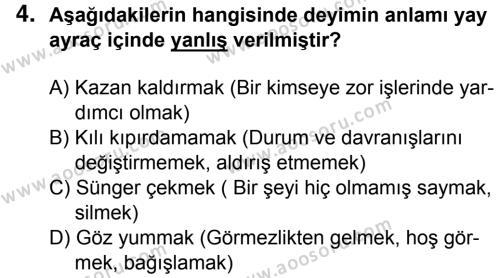 Türkçe 7 Dersi 2015 - 2016 Yılı 3. Dönem Sınavı 4. Soru