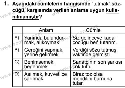 Türkçe 7 Dersi 2016 - 2017 Yılı 1. Dönem Sınavı 1. Soru