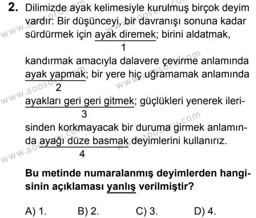 Türkçe 7 Dersi 2016 - 2017 Yılı 1. Dönem Sınavı 2. Soru
