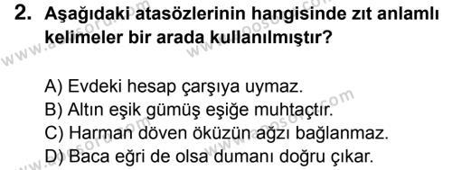 Türkçe 7 Dersi 2016 - 2017 Yılı 2. Dönem Sınavı 2. Soru