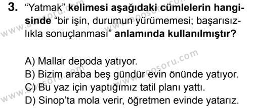Türkçe 7 Dersi 2016 - 2017 Yılı 2. Dönem Sınavı 3. Soru