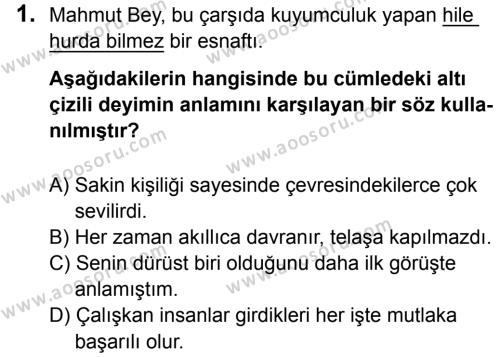 Türkçe 7 Dersi 2016 - 2017 Yılı 3. Dönem Sınavı 1. Soru