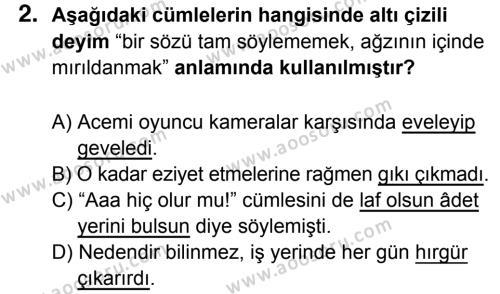 Türkçe 7 Dersi 2017 - 2018 Yılı 1. Dönem Sınavı 2. Soru