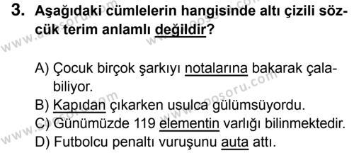 Türkçe 7 Dersi 2017 - 2018 Yılı 1. Dönem Sınavı 3. Soru