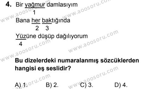 Türkçe 7 Dersi 2017 - 2018 Yılı 1. Dönem Sınavı 4. Soru