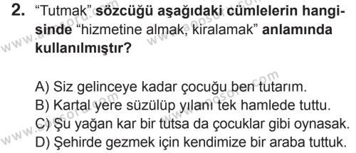 Türkçe 7 Dersi 2017 - 2018 Yılı 2. Dönem Sınavı 2. Soru