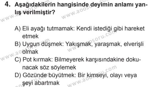 Türkçe 7 Dersi 2017 - 2018 Yılı 2. Dönem Sınavı 4. Soru