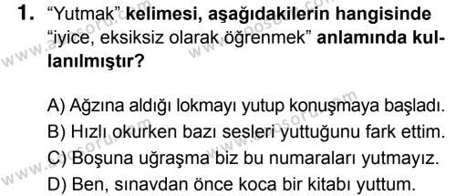 Türkçe 7 Dersi 2017 - 2018 Yılı 3. Dönem Sınavı 1. Soru