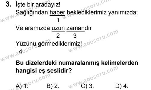 Türkçe 7 Dersi 2017 - 2018 Yılı 3. Dönem Sınavı 3. Soru